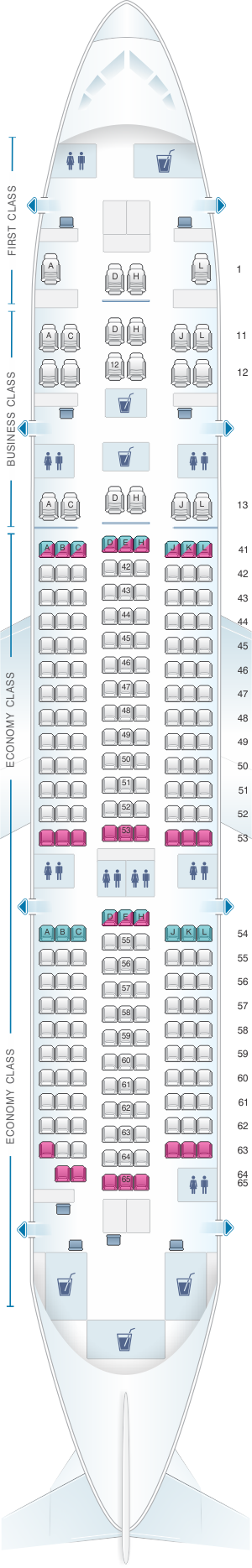 Seat map for Xiamen Airlines Boeing B787-8