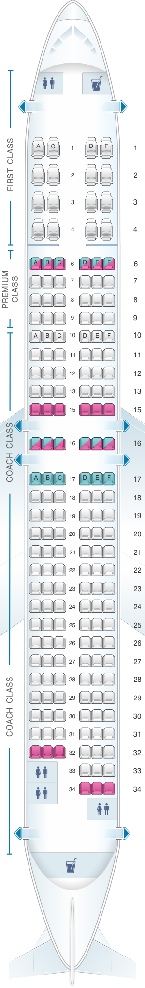 Seat map for Alaska Airlines - Horizon Air Boeing B737 900ER