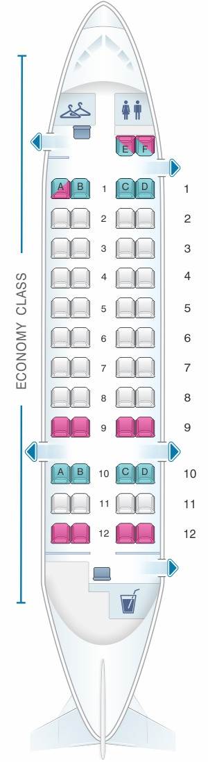 Seat map for Qantas Airways Bombardier Dash 8 Q300