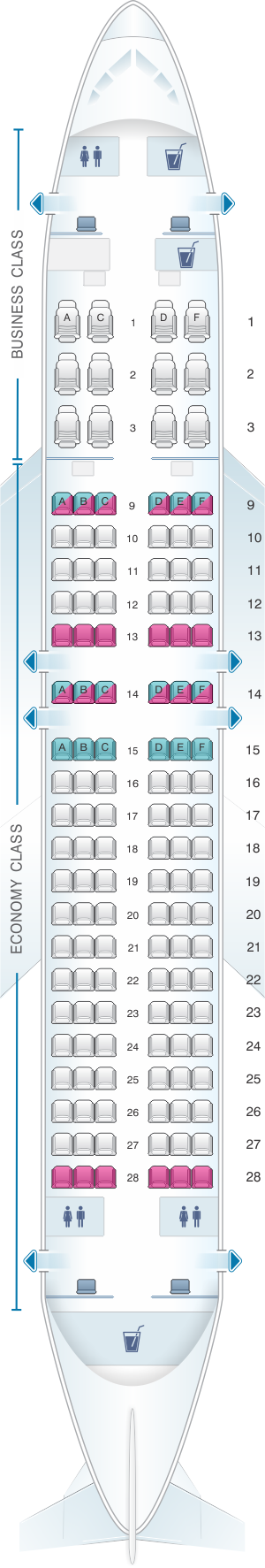 Seat map for Qatar Airways Airbus A320 200 144pax