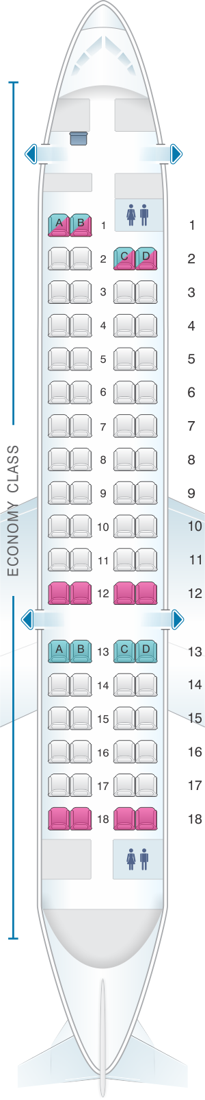 Seat map for Adria Airways Bombardier CRJ 700ER