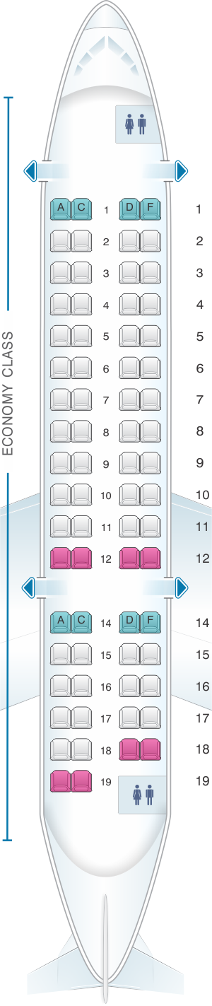Seat map for Air India CRJ 700