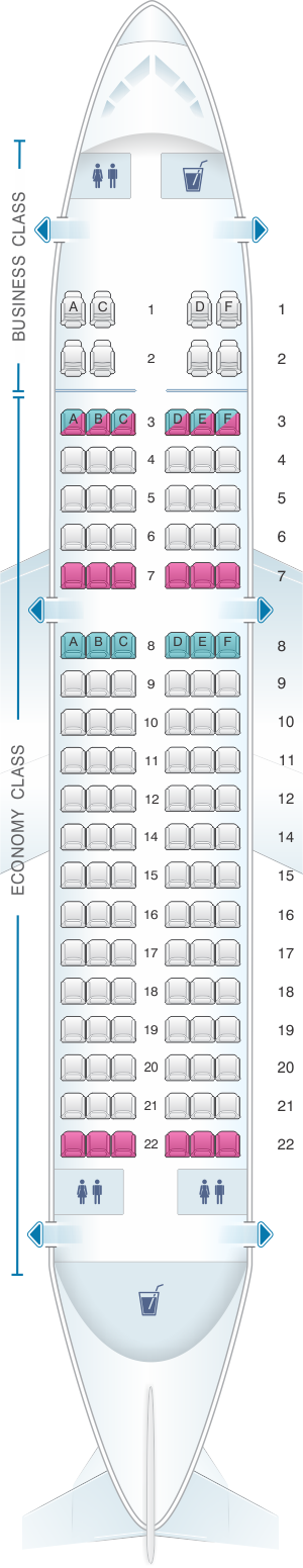Seat map for Air India Airbus A319 Mixed  Configuration