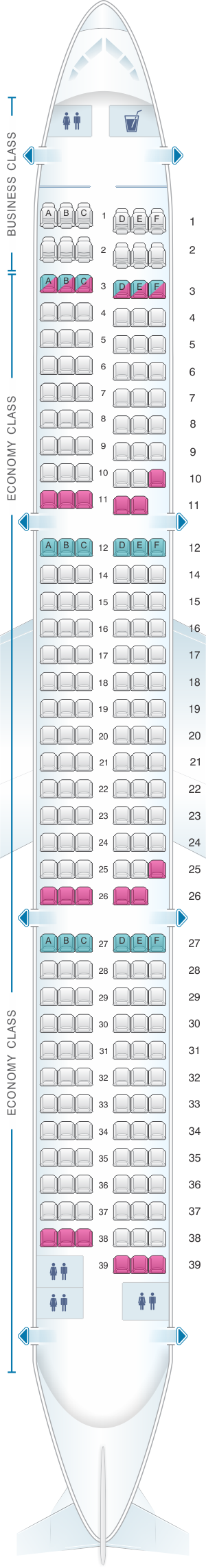 Seat map for Air Moldova Airbus A321