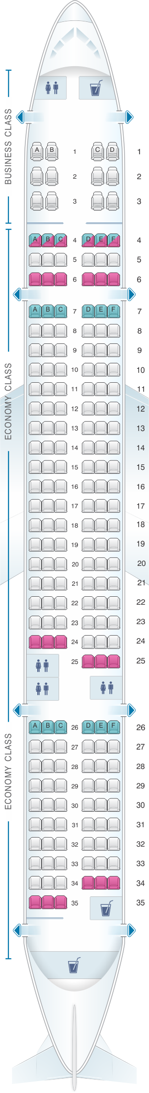 Seat map for Fly Jamaica Boeing B757-200