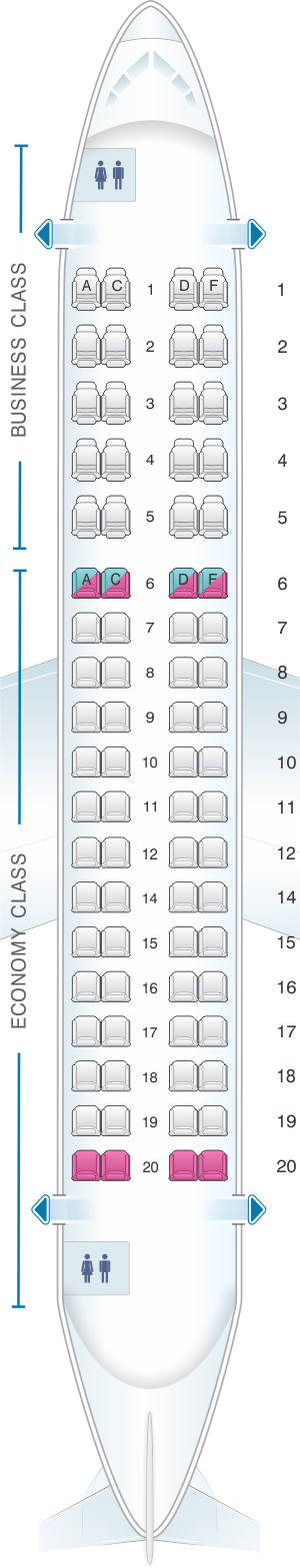 Seat map for HOP! Embraer 170
