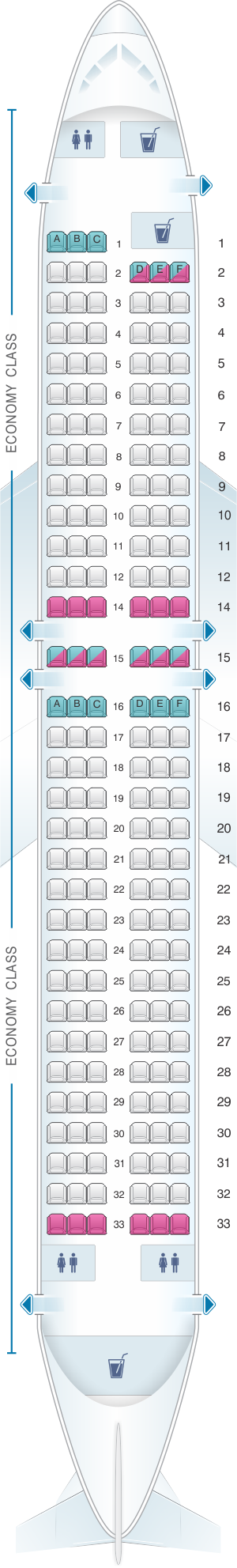 Seat map for Jet2 Boeing B737-800