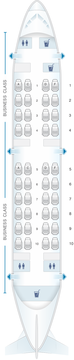 Seat map for Qatar Airways Airbus A319LR Business