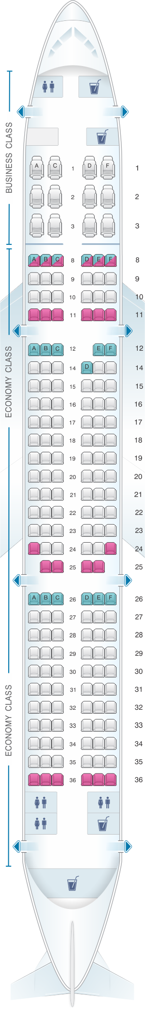Seat map for Qatar Airways Airbus A321 200 177pax