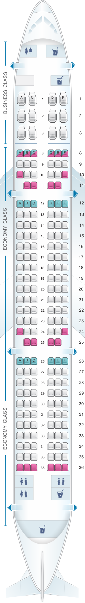 Seat map for Qatar Airways Airbus A321 200 182pax