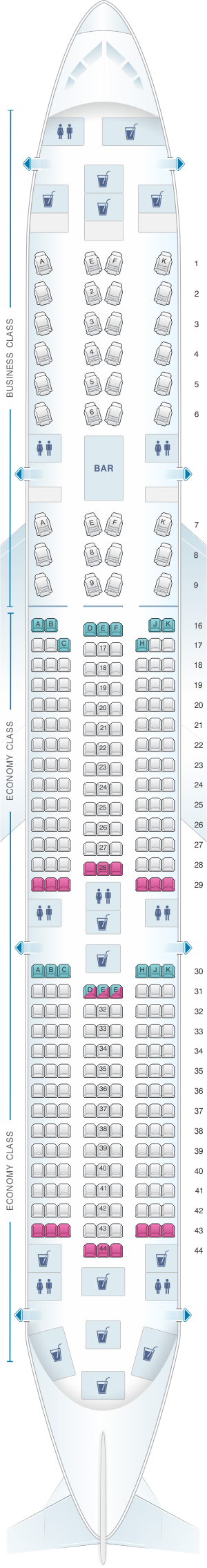 Seat map for Qatar Airways Airbus A350 900 283pax