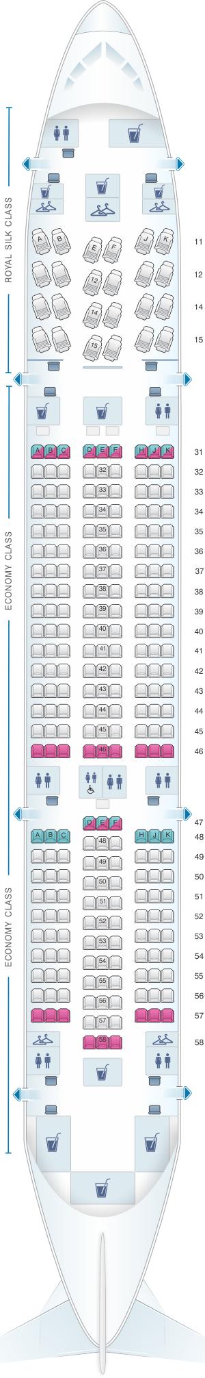 Seat map for Thai Airways International Boeing B787 8