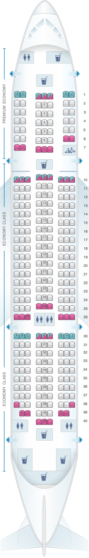 Seat map for TUI Boeing B787 Dreamliner
