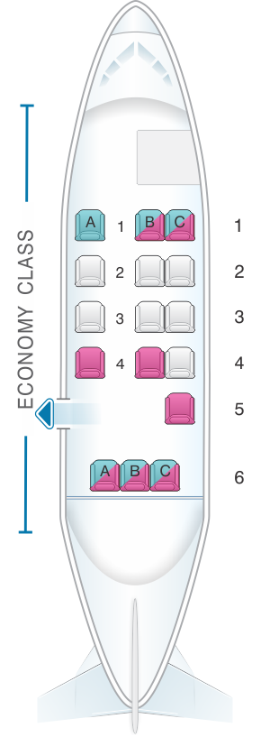 Seat map for Aircalin Twin Otter DHC6
