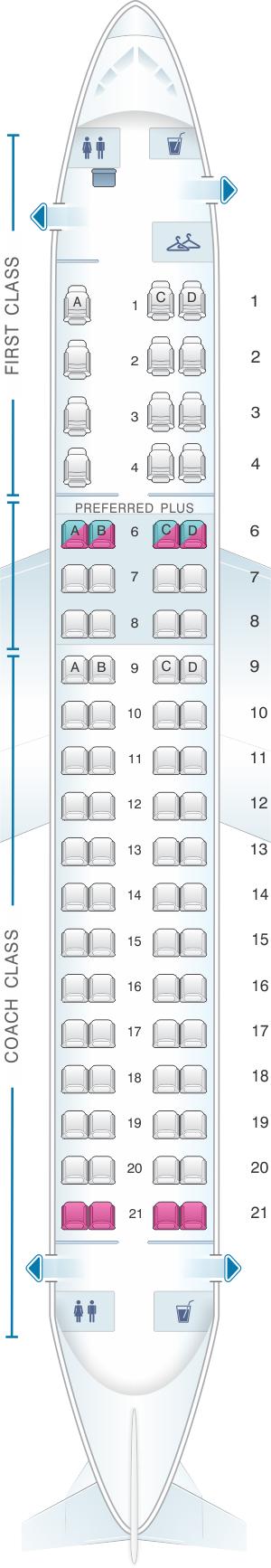 Seat map for Alaska Airlines - Horizon Air Embraer 175