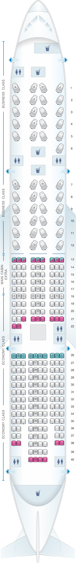 Seat map for American Airlines Boeing B777 200ER 260pax