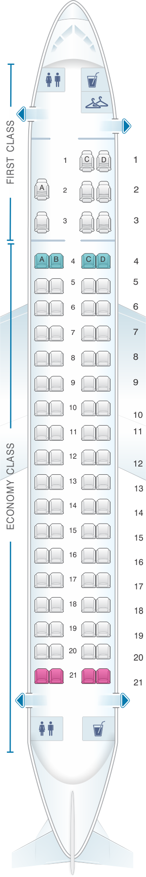 Seat map for American Airlines Embraer ERJ 175 V2