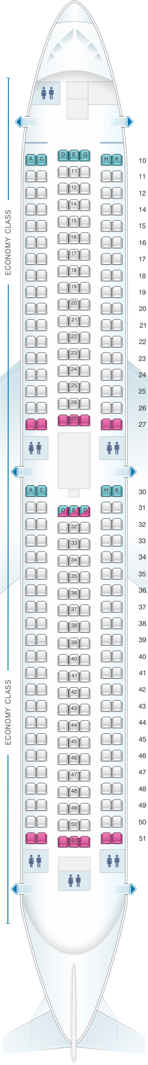 Seat map for Asiana Airlines Boeing B767 300 270PAX