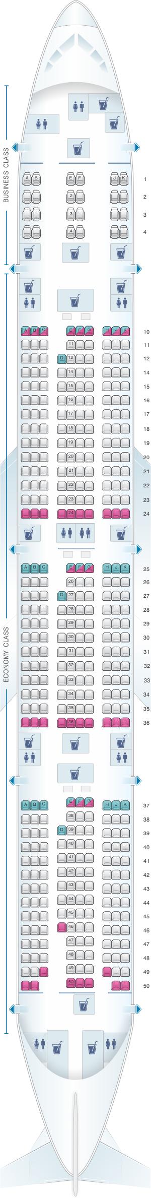 Plan de cabine qatar airways boeing b777 300er 412pax for Plan cabine 777 300er