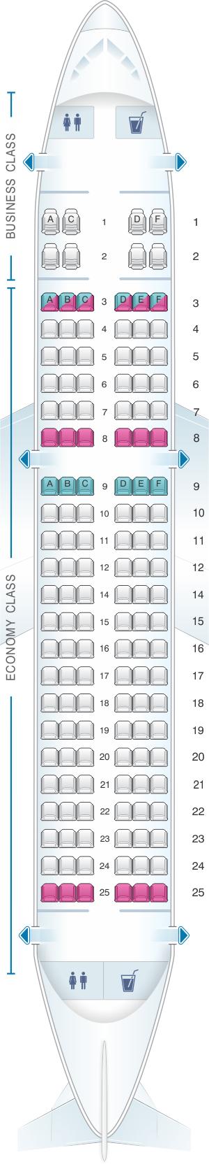 Seat map for Bulgaria Air Airbus A319