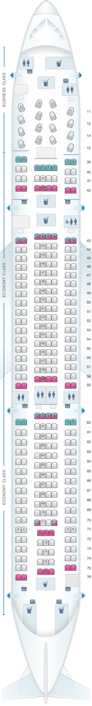 Seat map for Cathay Pacific Airways Airbus A330 300 (33P)