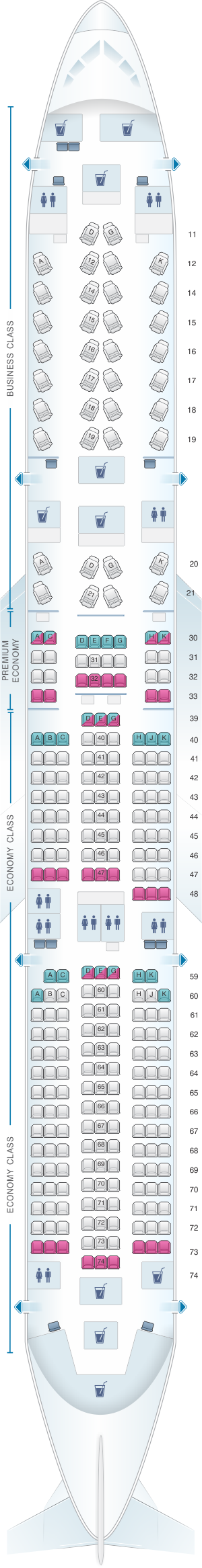 Seat map for Cathay Pacific Airways Airbus A350-900 (35G)