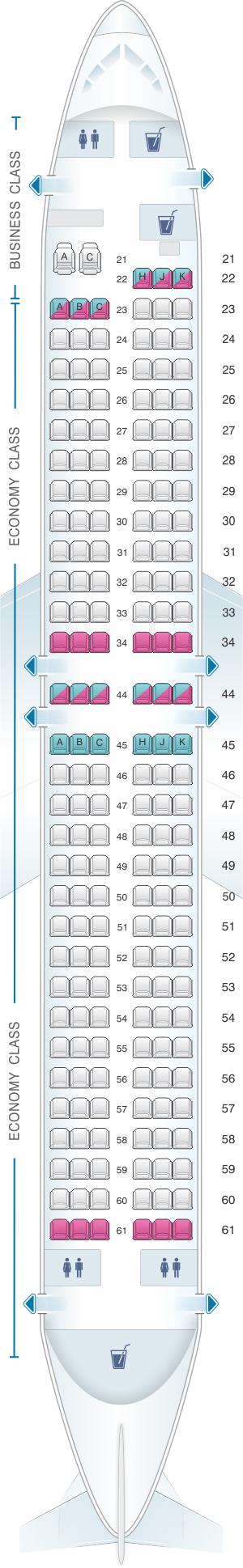 Seat map for El Al Israel Airlines Boeing B737 800 185pax