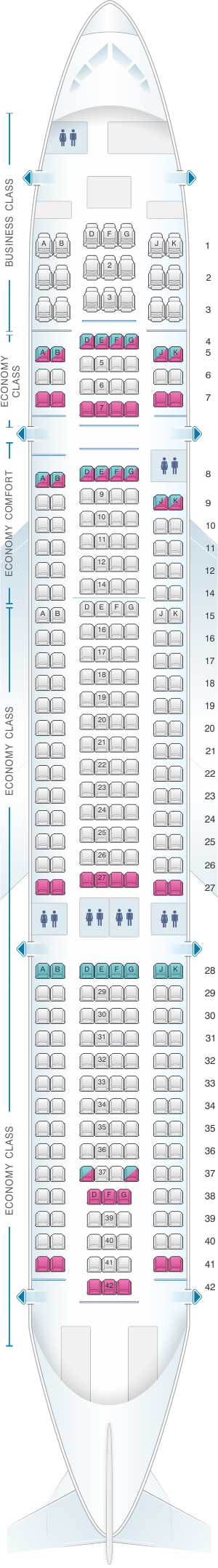 Seat map for Eurowings Airbus A330 200