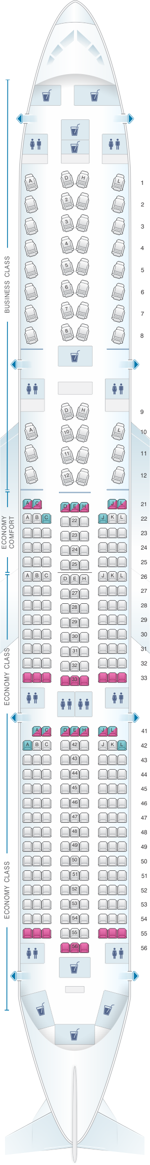 Seat map for Finnair Airbus A350 900 Config.1