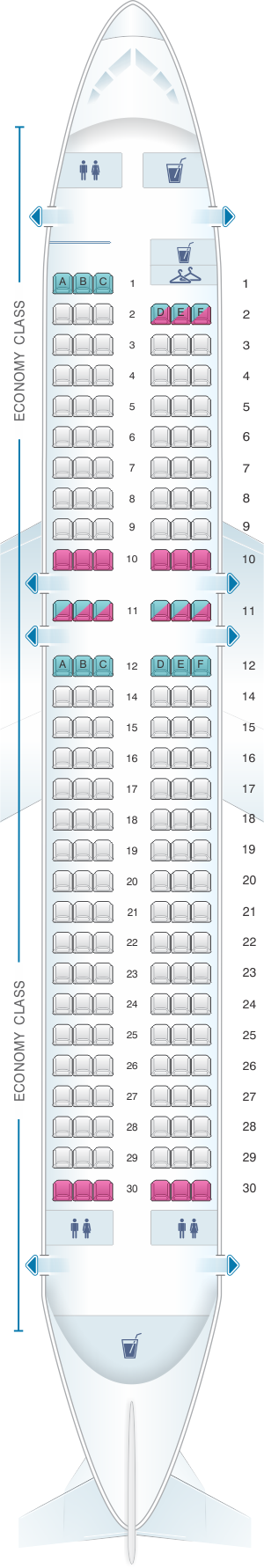 Seat map for Iberia Airbus A320 Express