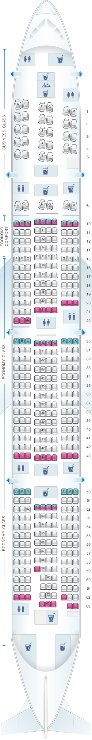 Seat map for KLM Boeing B777 300ER New World Business Class