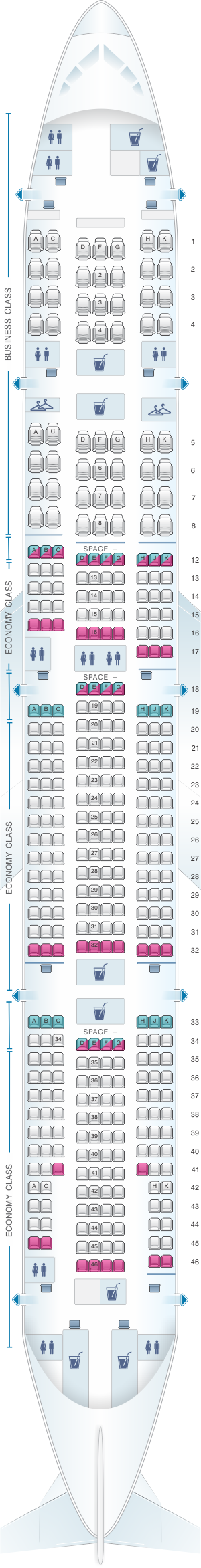 Plan de cabine latam airlines brasil boeing b777 300er v2 for Plan cabine 777 300er