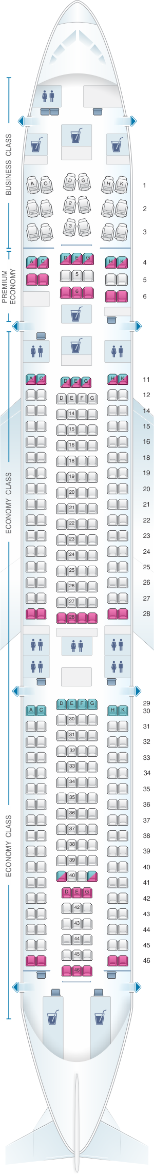 Seat map for Lufthansa Airbus A340 300 298pax