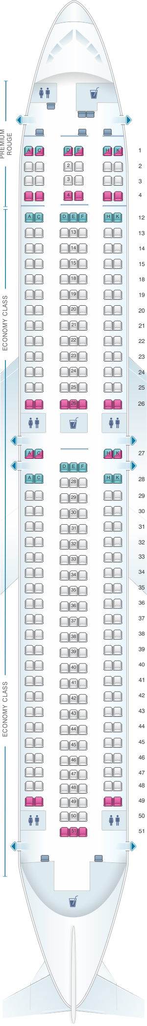Seat map for Air Canada Boeing B767 300ER (763) Rouge
