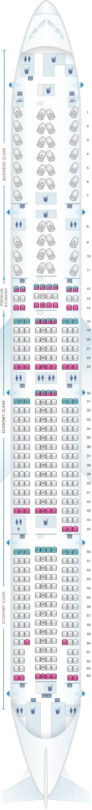 Plan de cabine air canada boeing b777 300er 77w for Plan cabine 777 300er