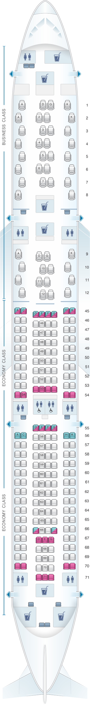 Seat map for South African Airways Airbus A330 300