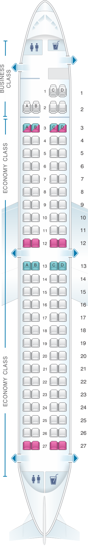 Seat map for TAP Air Portugal Embraer E190