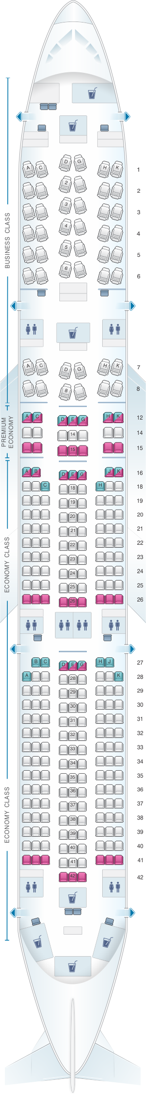 Seat map for Lufthansa Airbus A350 900 Config.1