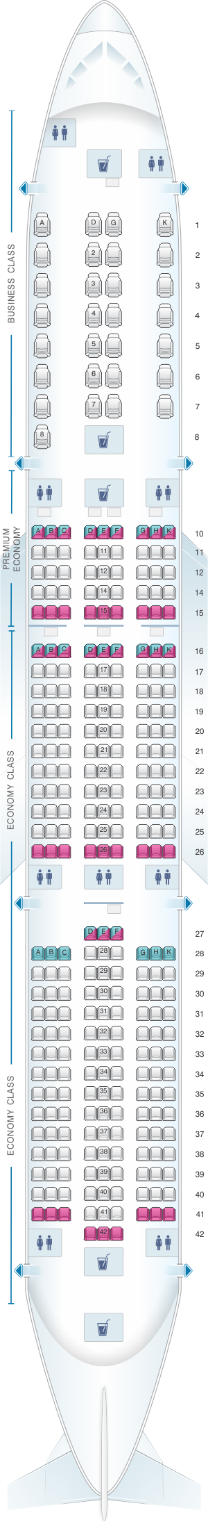 Seat map for Vietnam Airlines Airbus A350 Config.1