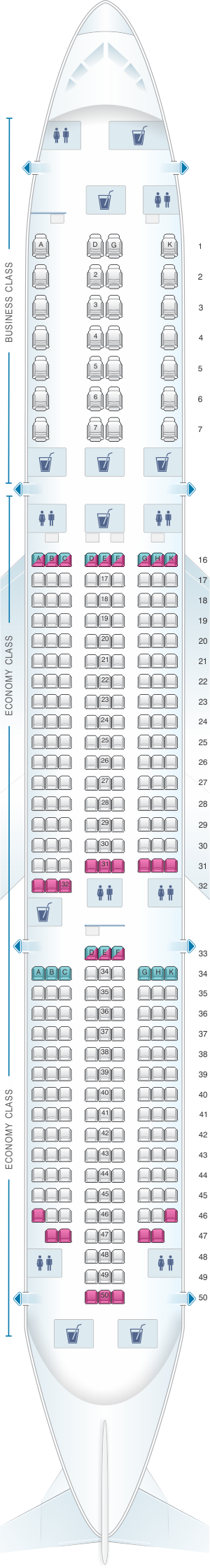 Seat map for Vietnam Airlines Boeing B787-9 V2