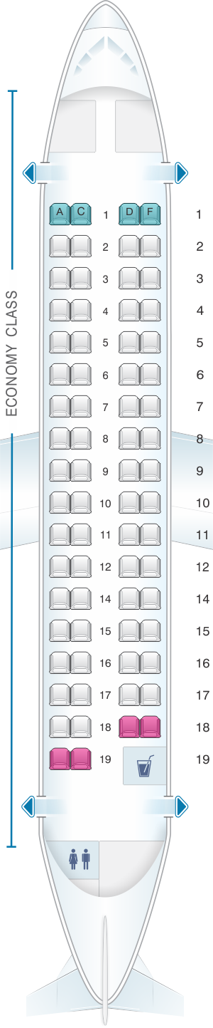 Seat map for Air France ATR 72 500 V2