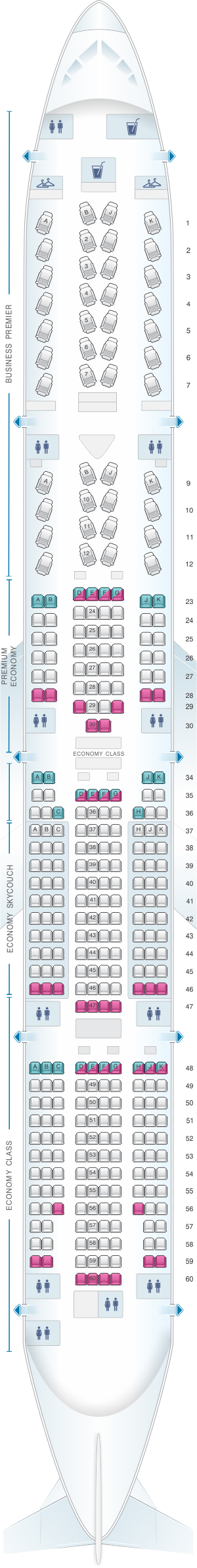 Seat map for Air New Zealand Boeing B777 300ER