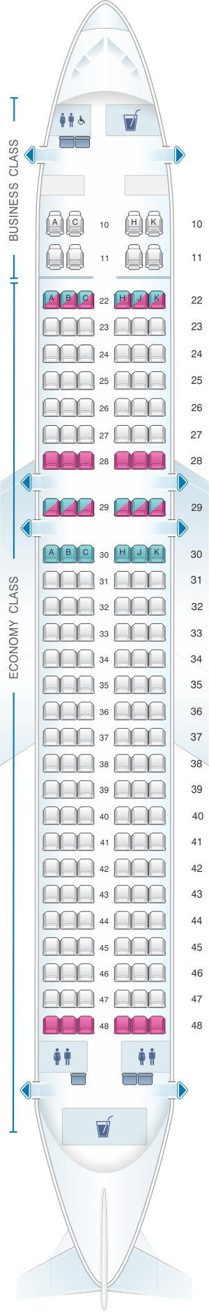 Seat map for Cathay Pacific Airways Cathay Dragon Airbus A320 200