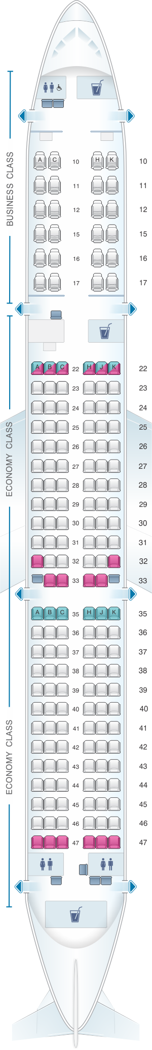 Seat map for Cathay Pacific Airways Cathay Dragon Airbus A321 200