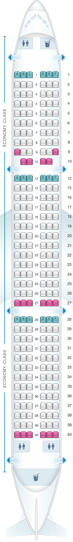 Seat map for Vueling Airbus A321