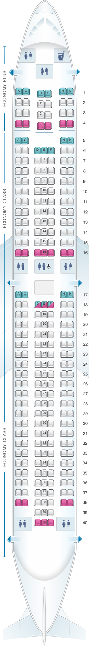 Seat map for WestJet Boeing B767 300