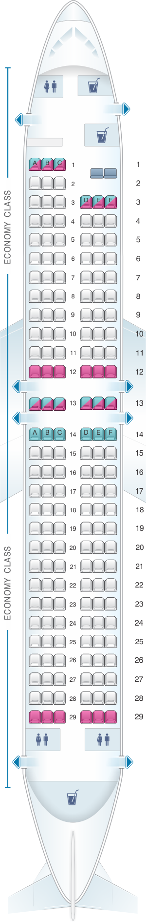 Seat map for Xtra Airways Boeing B737 800