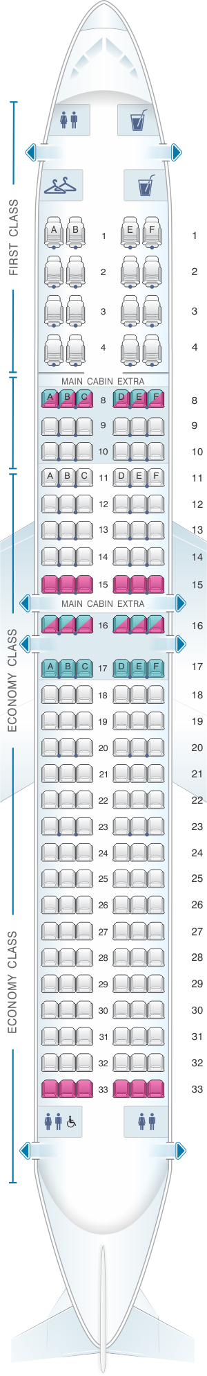 Seat map for American Airlines Boeing B737 MAX