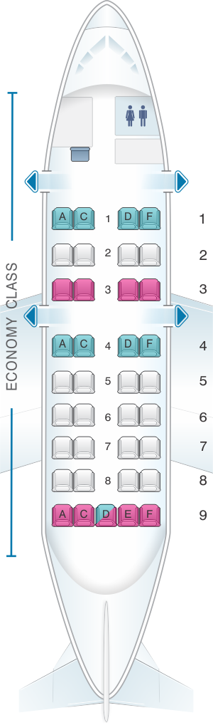 Seat map for American Airlines Dash 8 100