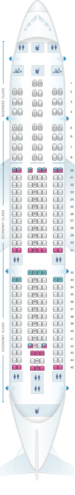 Seat map for MEA Airbus A330 200